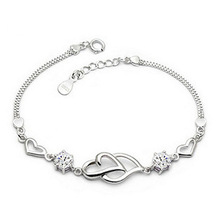 New Summer Style Romantic Double Heart Bracelet Femme Silver Plated Women Wedding Crystal Bracelets Pulseras Fine Jewelry(China (Mainland))
