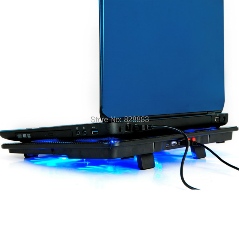Notebook cooling pad Blue LED Laptop Cooler 5 Fans 2 USB Port Stand Pad for Laptop