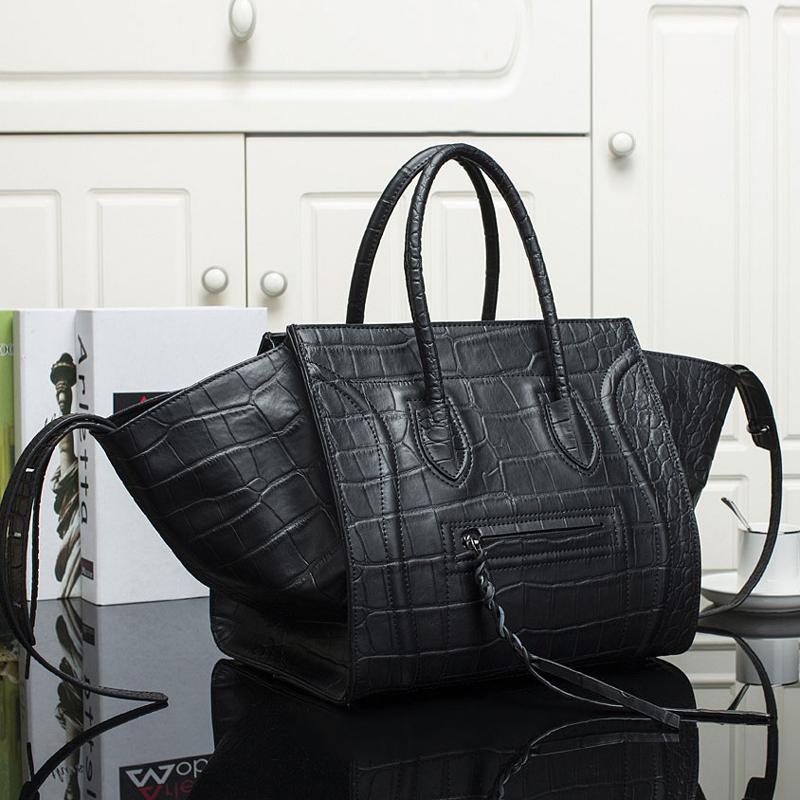 Hot Selling Smiley Face Large Crocodile Pattern Handbag Women's Genuine Leather Vintage Print Phantom Designer Brand Purse bags(China (Mainland))