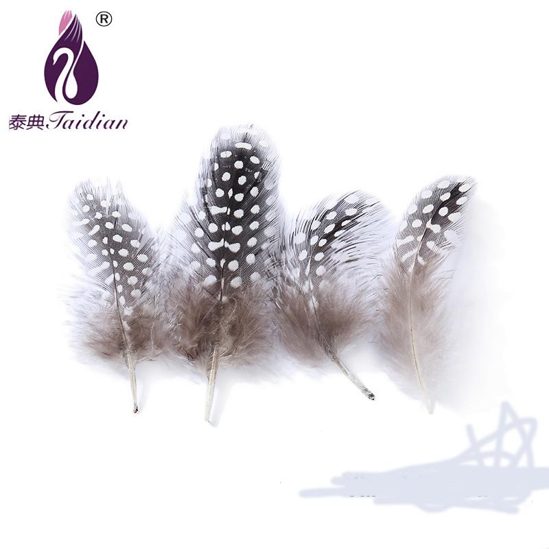 Дешевые окрашенная природный Dot цесарка 5 - 10 см 200 шт. карнавальные перья красивые декоративные перья