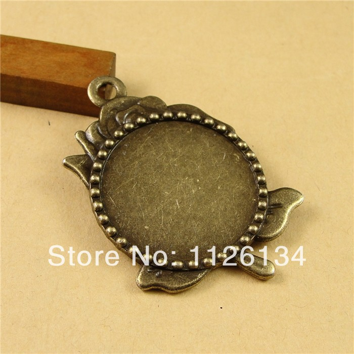 A3309 Cabochon Base Setting Alloy Jewelry Findings Antique Bronze Rose Inner 30 MM Tray(China (Mainland))