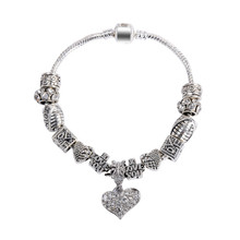 New Free Shipping Fashion European Style 925 Silver Red Heart Bead With Crystal Charm Bracelet For Woman DIY Bracelet SL1202(China (Mainland))