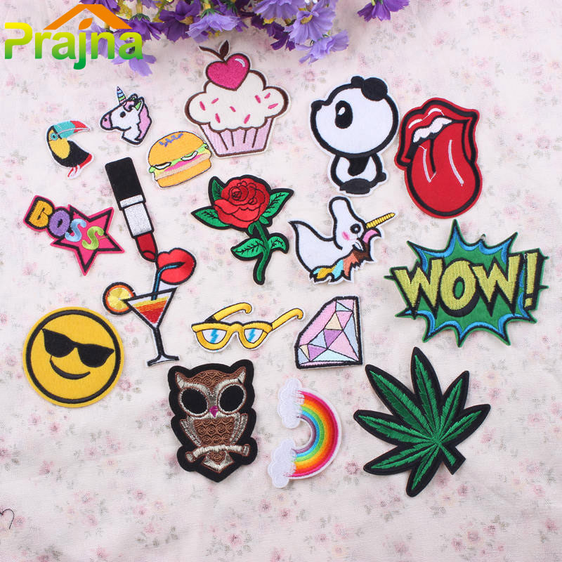 18PCS Letter Lip Rainbow Unicorn Patch Set Iron On Cartoon Patches Mix Fashion Cheap Embroidered Cute Patches For Clothing Jeans(China (Mainland))