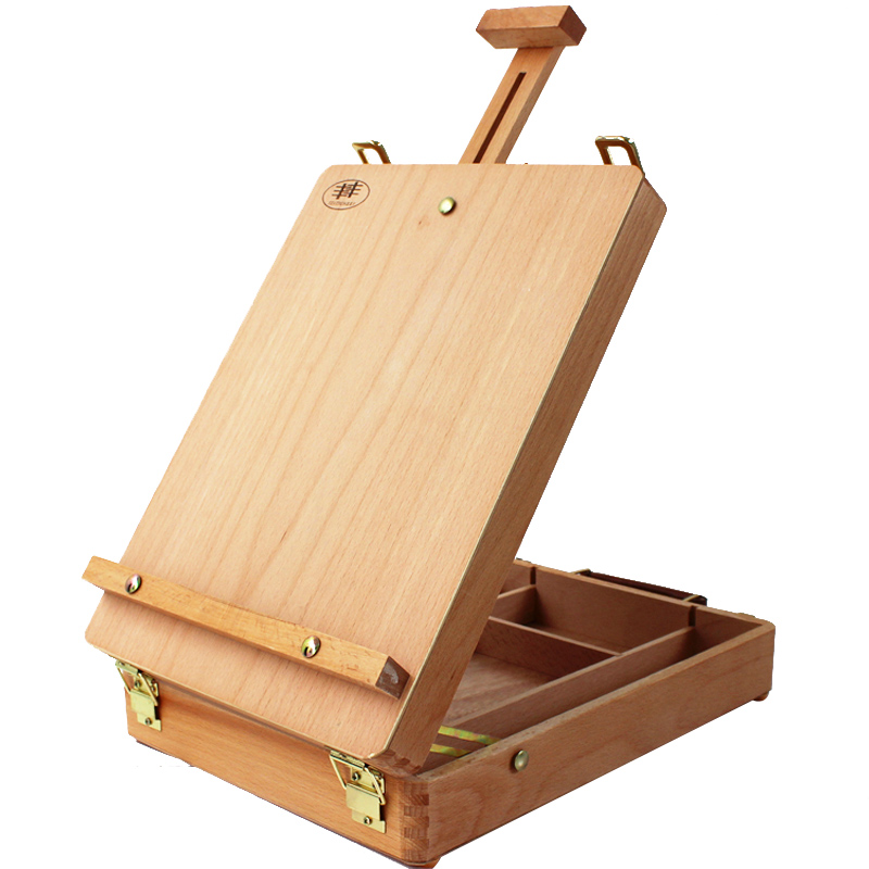 1PC Fillet Desktop Caballete Box Easel Wood Portable Artist Painting Easel Drawing Oil Paint Suitcase Box kids Sketchpad Frame(China (Mainland))