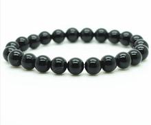Black Onyx Bracelet fashion Natural 8MM semi precious stone round beads stretch jewelry bangle men girl women(China (Mainland))