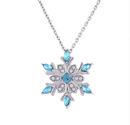 2016 Top Quality Hot vintage Blue Crystal Snow flake Flower Silver Necklaces & Pendants Jewelry for Women girl best gift(China (Mainland))