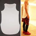 2016 Hip Hop Street Tops T shirt Short Sleeve Arc Slit Hem Short In Front Long