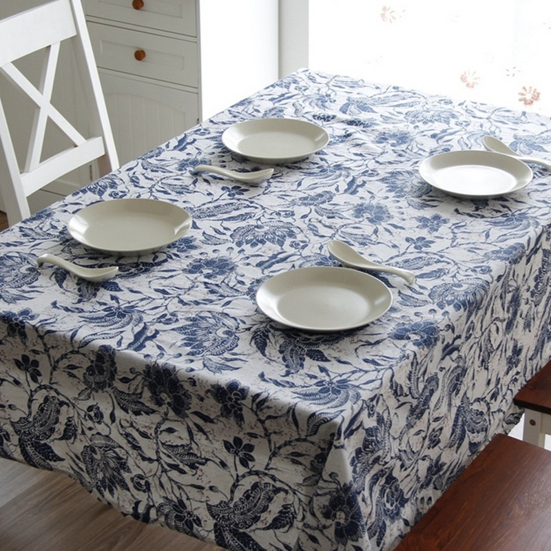 National style blue and white porcelain tablecloth quality cotton & linen kitchen dining table cloth multi functional cloth Q94(China (Mainland))