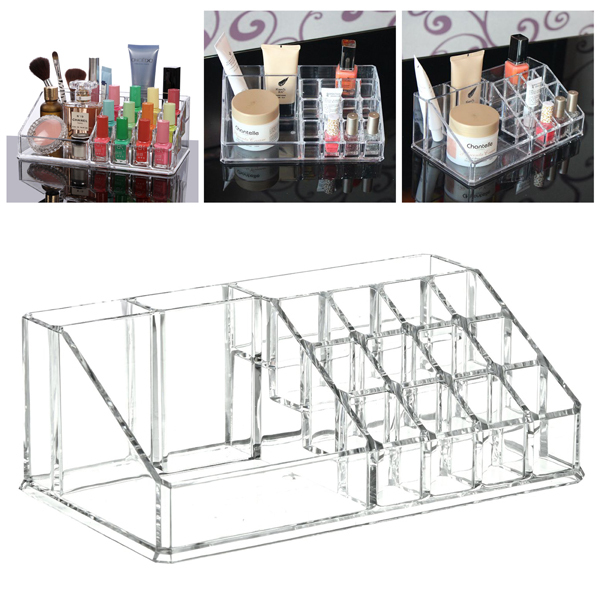 2015 New Clear Makeup Jewelry Cosmetic Storage Display Box Acrylic Case Stand Rack Holder,home girls Storage boxes(China (Mainland))
