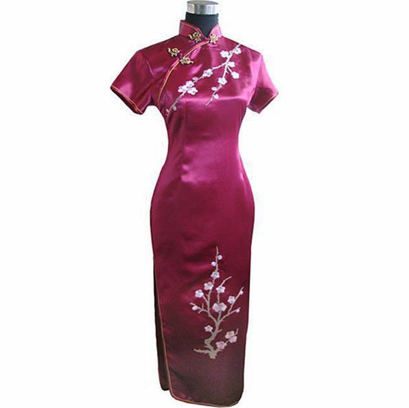 Burgundy Chinese Women Satin Long Qipao Embroidery Flower Cheongsam Wedding Party Dress Vestidos Largo S M L XL XXL XXXL J3409(China (Mainland))