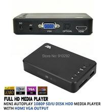 Neue Full HD Media player Mini Autoplay 1080 p SD/U Festplatte HDD Multimedia-Player Mit HDMI Vga-ausgang(China (Mainland))