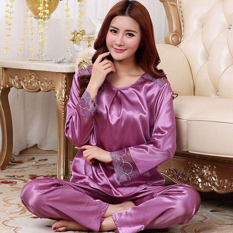 Women imitated silk round neck long sleeves pajamas sets,lady girls purple champagne embroidery lace nighty S-XXL JJDT 85158(China (Mainland))