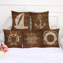 Buy Retro Mediterranean Style Sailing Boat Anchor Decorative Cotton Linen Throw Pillow Home Sofa Car Seat Cushion for $4.71 in AliExpress store