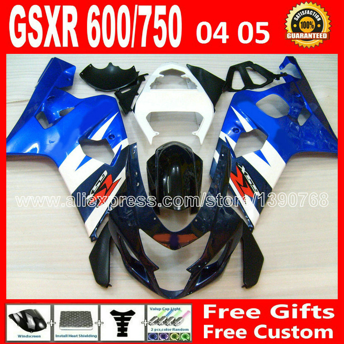 for SUZUKI 2004 2005 white black blue GSXR 600 750 fairing kit K4 gsxr600 QTV 04 05 gsxr750 fairings kits motorcycle 894(China (Mainland))