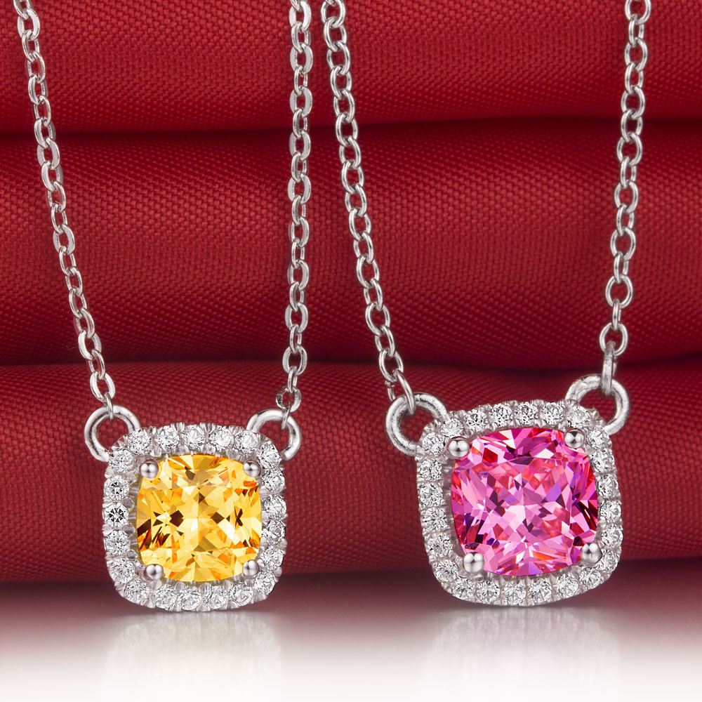 Luxury 1CT Cushion Shape Yellow Pink Synthetic Diamond pendant 18K gold plated Pendant 925 sterling silver necklace wholesale(China (Mainland))