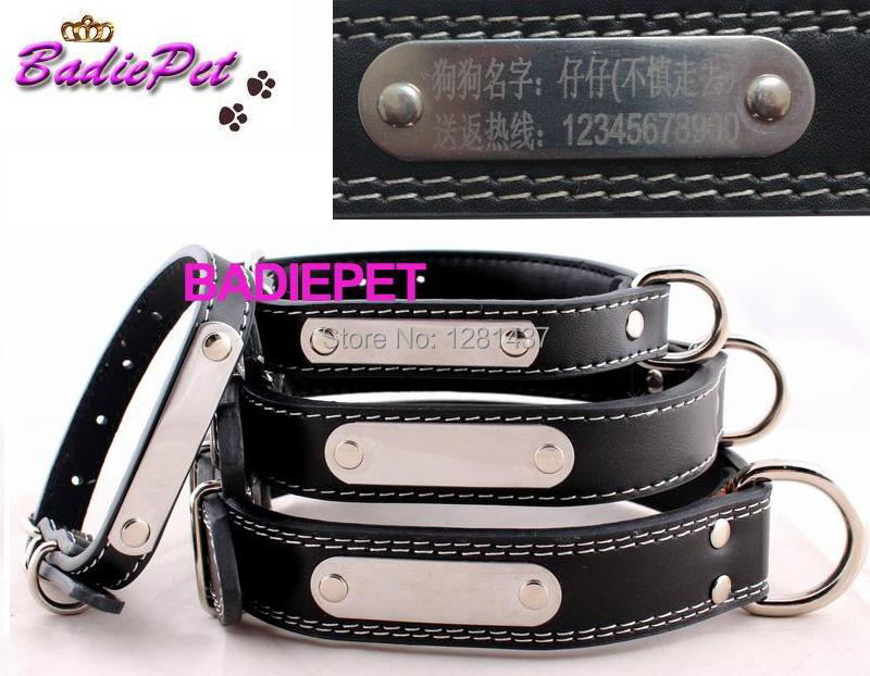 Retail Real Cow Leather Engraving Tag DIY Name Dog Collar! ( Free Engraving pet name, owner phone NO.)10% off for 2pcs!()