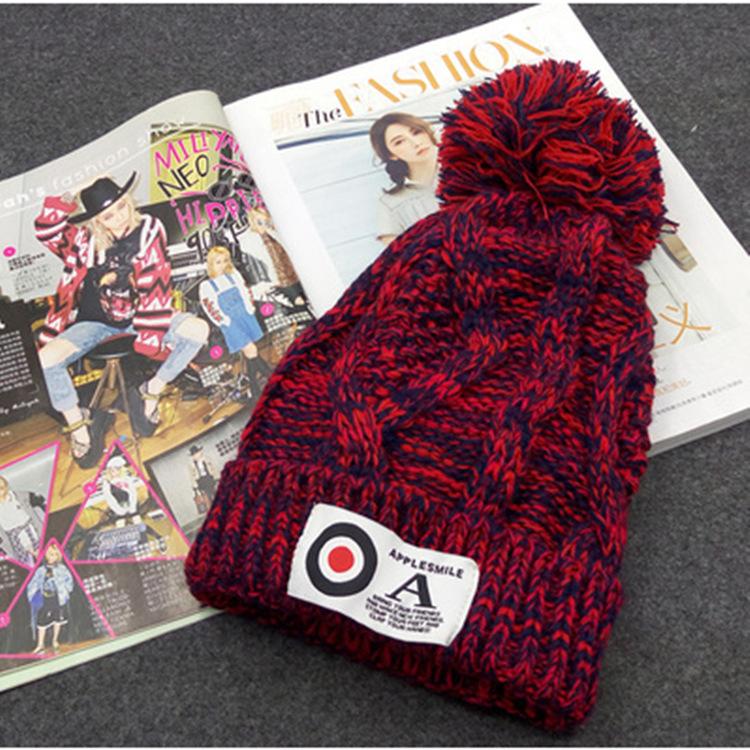 2016 Cap Winter Hats for Women Beanies Knitted Hat Adult Solid Letter Women Beard Fur Pom Pom Tuque Femme Balaclava War Bonnet