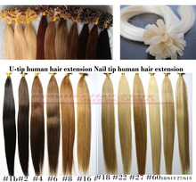 Italian keratin fusion NAIL U TIP ombre two tone dip dye hair extensions Indian Remy Human 1g/s 100g(China (Mainland))
