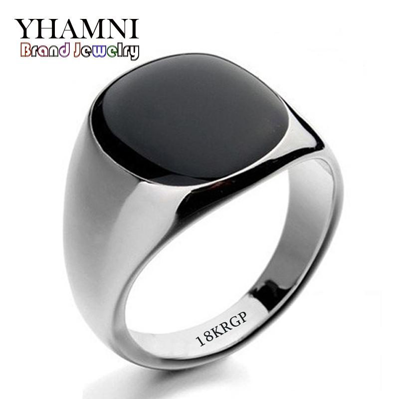 Hot Sale Fashion Black Wedding Rings For Men Brand Luxury Black Onyx Stones Crystal Ring Fashion 18KRGP Rings Men Jewelry R0378(China (Mainland))