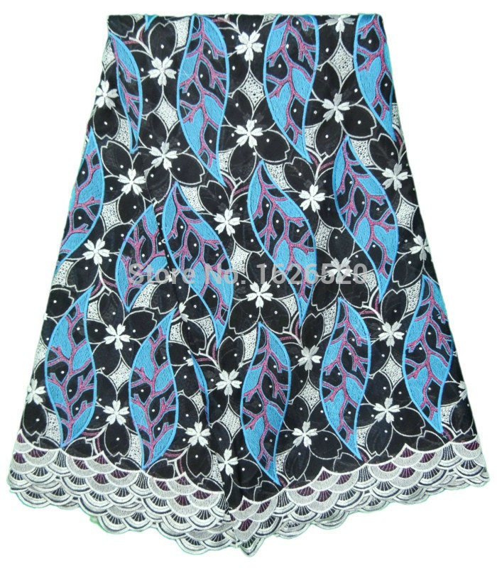 Latest Double gauze cloth Blue Big Leaves With Rhinestone Design Black African Cotton Lace Fabric High Quality Swiss Voile Lace(China (Mainland))