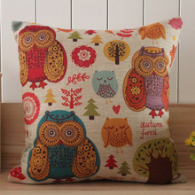 LINKWELL 45*45cm Colourful Cute Beautiful Owl Tree Design Linen Cushion Cover Cartoon Kid Boy Girl Room Living Room(China (Mainland))