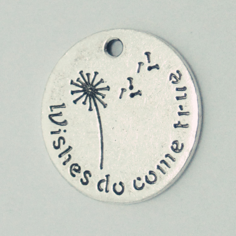 Antique Silver Pendant Charms Words ''Wishes do come true'' Message Charms(China (Mainland))