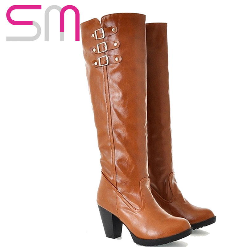 Гаджет  Knee High Snow Boots Vintage Thick Heels Long Winter Women Shoes Knight Boots Buckle Strap Fashion 2015 Spring Winter Shoes  None Обувь