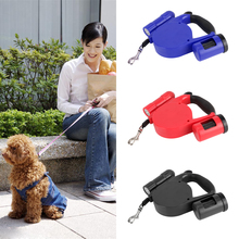 5M Dog Lead Retractable Dog Leash Pet Traction Rope Chain Harness Dog Collar with LED Lights Dog Waste Poop Garbage Bag Holder(China (Mainland))