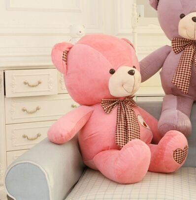 lovely huge teddy bear toy plush bow pink teddy bear heart bear doll gift about 100cm(China (Mainland))