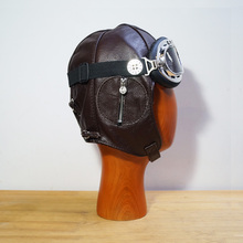 Leather Flight Helmet Hat + Goggles