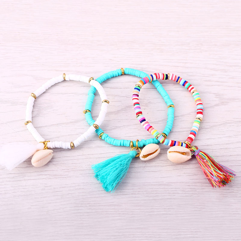 New Arrival Tassel Shell Bracelets & Bangles 5 Colors Polymer Clay CCB Elastic Charm Bracelet for Women Men Jewelry Freeshipping(China (Mainland))