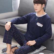 Pajama sets men 2016 new spring and autumn sleepwear male  long-sleeve top trousers cotton thin lounge set blue gray(China (Mainland))