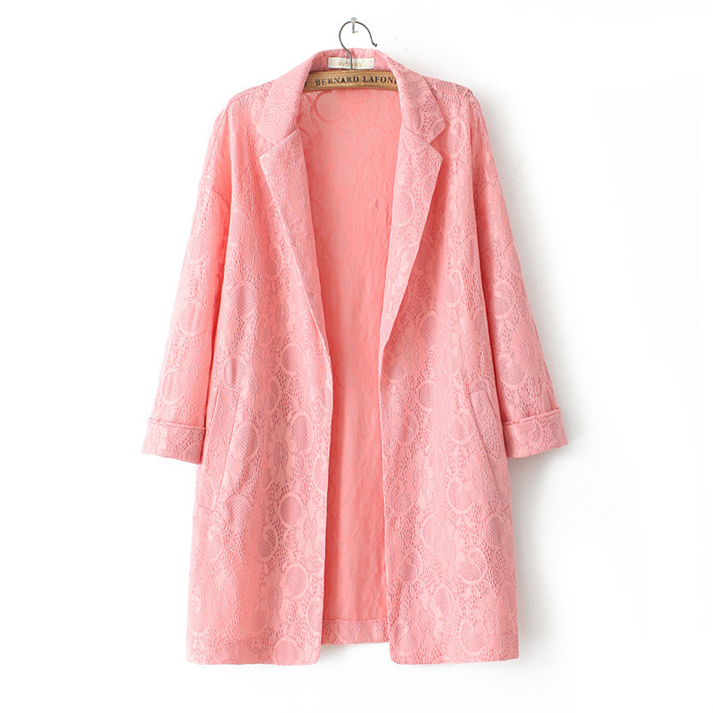 New 2016 Spring Fall Casual Trench Coat Turn-down Collar Solid Slim Windbreaker Plus Size Long Lace Blazer Coat Black Pink Color
