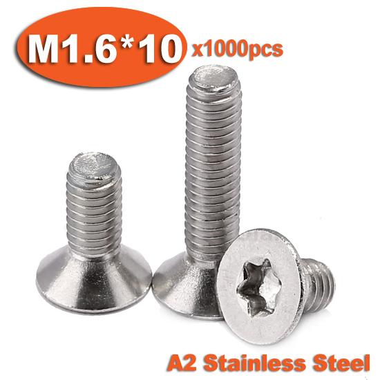 1000pcs DIN965 M1.6 x 10 A2 Stainless Steel Torx Countersunk Flat Head Screw Screws<br><br>Aliexpress