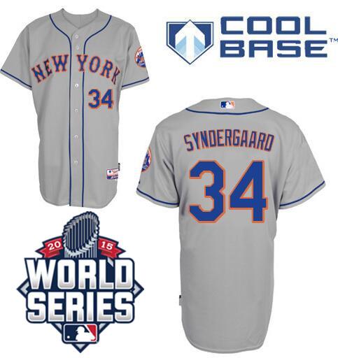 Cheap Men's Mets #34 Noah Syndergaard gray road away jersey, stitched baseball New York 2015 World Series Patch Jerseys