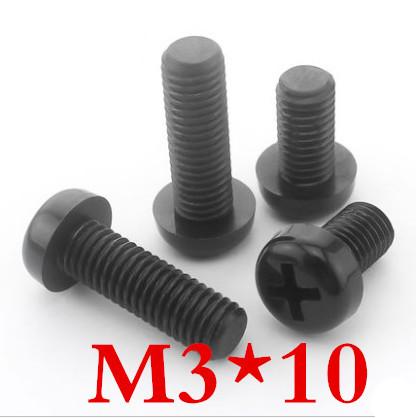 200pcs/lot High Quality M3*10 m3 x 10 Black Nylon Screw Plastic Phillips Cross Recessed Round Pan Head Machine Screw<br><br>Aliexpress