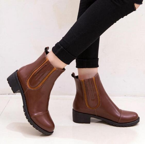 2015 New Autumn Winter Women Boots Solid European Ladies PU Leather Fashion - SAR store