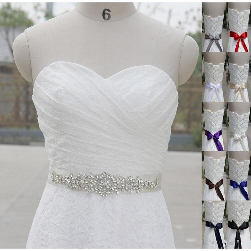Shiny Crystal Beaded Belt for Wedding white long satin Wedding Accessories bridal Sashes Bow Back Belt for Prom Party Dress