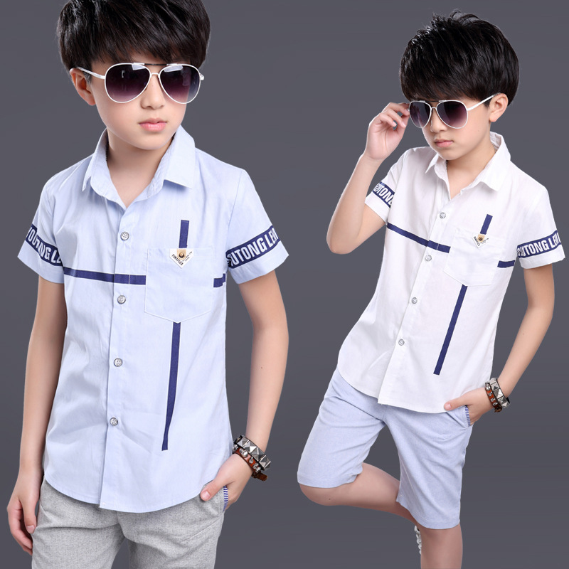 Children's boys summer collar shirt with short sleeves with cuhk children's clothing han edition short-sleeved shirt in summer(China (Mainland))