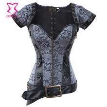 Brocade& Faux Leather Corset Steampunk Clothing Steel Boned Waist Training Corsets and Bustiers Burlesque Outfit Gothic Corselet