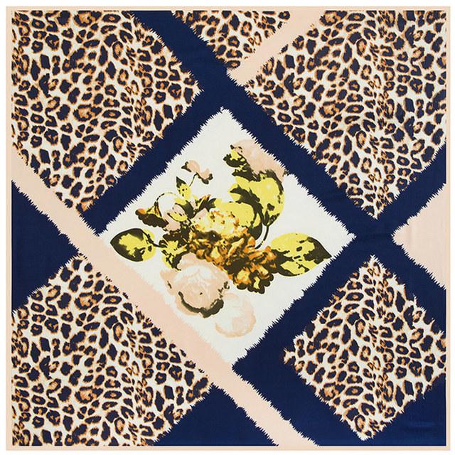 100 см * 100 см саржевые шелковый женщины 100% шелковая леопарда и цветок высокое качество шарф мусульманский хиджаб B118