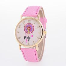 2016 new hot fashion women's feather sun flower pattern PU leather classic casual watch quartz watch digital free shipping