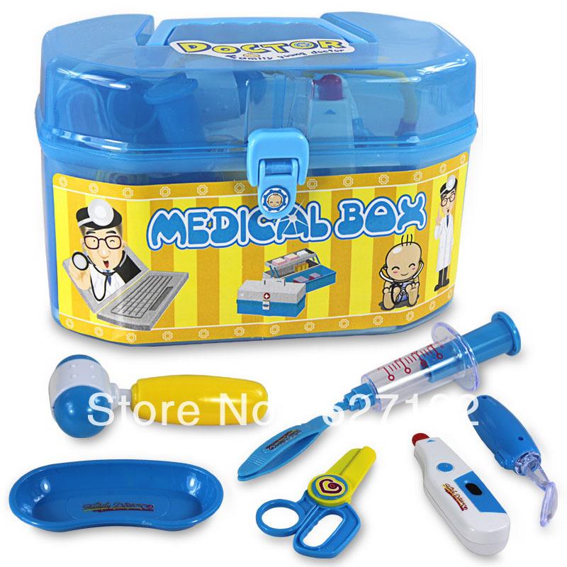 Medico Estetoscopio Carrinho De Boneca Medical Kit Set Tools Pretend Play Doctor Toys 8 Pcs Per Health Care Case Chlidren Toy(China (Mainland))