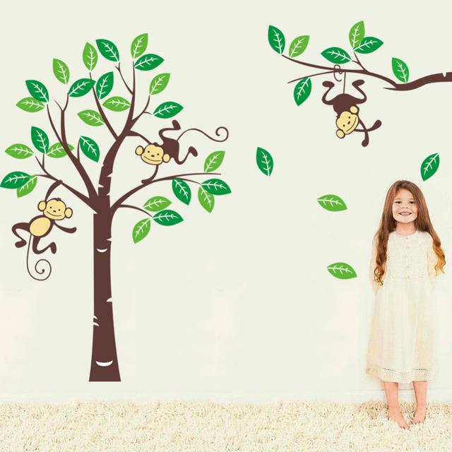 Обезьяны играть на вал пвх стена наклейки тематические стена отличительные знаки дети питомник съёмный для дома декор 1205