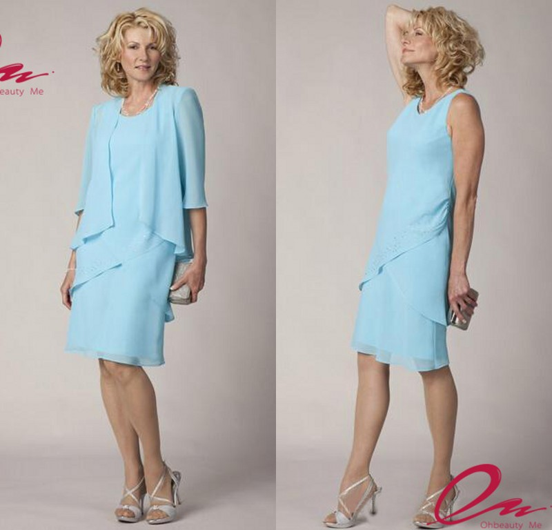 2015 Casual Modest Mother Of The Bride Dress With Jacket
