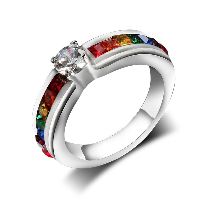 aliexpress buy rainbow rings cubic