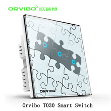 Orvibo Wifi Smart Home Automation Light Switch t020 3 Loop Art Puzzle Design Remote Control Smart Wall Switch For Ios Android