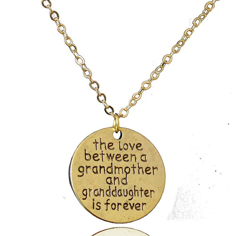 I love you, antique gold pendant necklace female couple Valentine's Day gift jewelry fashion long moon mother coins English text(China (Mainland))