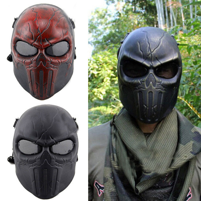 2015 Chastener Ear-Protective Full Face Protection Airsoft Masks Adults Cs Field Game Punisher Scary Skull Paintball Mask(China (Mainland))