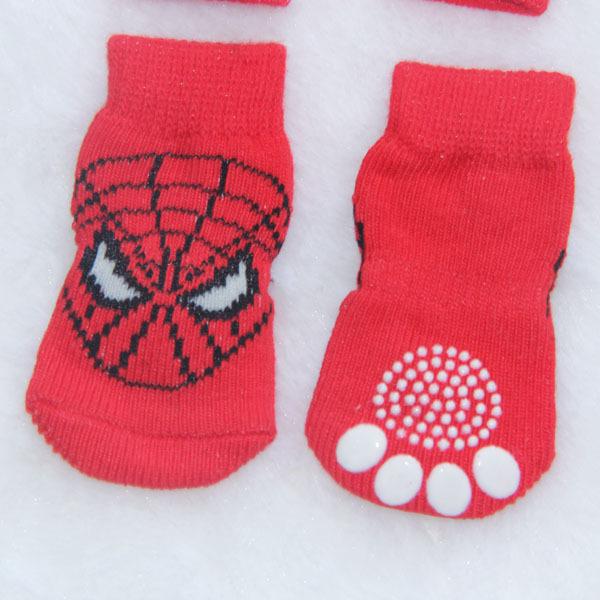 Super Spider Man Pet Socks Indoor Red Pet Dog Soft Cotton Anti slip Knit Weave Winter